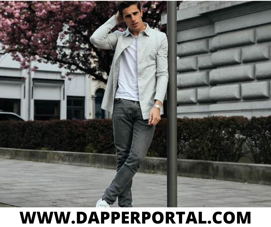 grey jeans outfit men