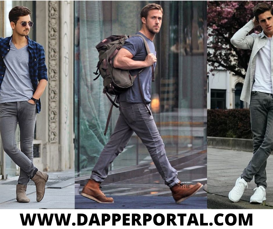 what goes with grey jeans for guys