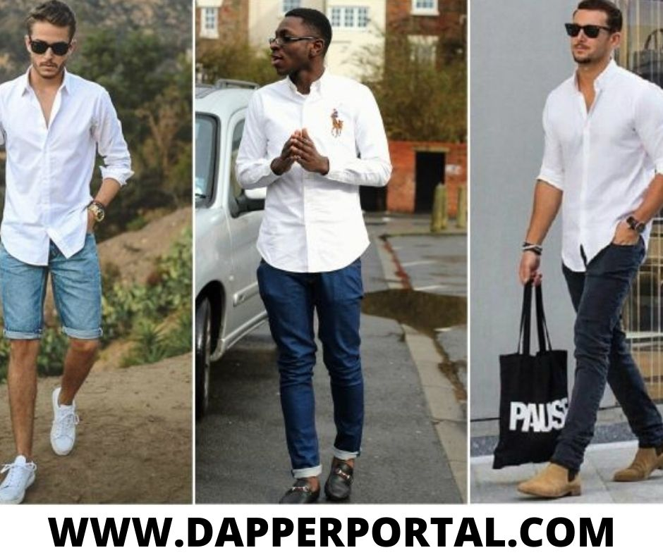 how to wear a white oxford shirt