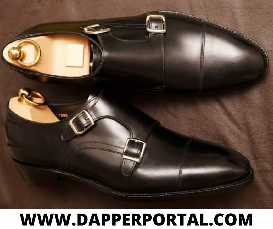 double monk strap shoes with suit